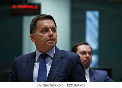 Brussels, Belgium. 5th November 2018. Slovakia's Finance Minister Peter Kazimir  attends in Eurogroup finance ministers meeting at the EU headquarters.
