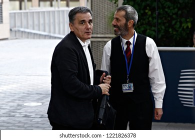 Brussels, Belgium. 5th November 2018. Greek Finance Minister Euclid Tsakalotos attends in an Eurogroup finance ministers meeting at the European Council.