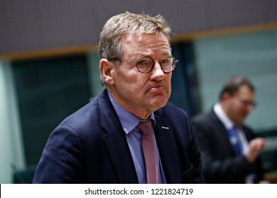 Brussels, Belgium. 5th November 2018.Belgian Finance Minister Johan Van Overtveldt attends in Eurogroup finance ministers meeting at the EU headquarters.