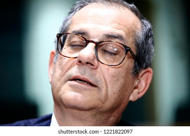 Brussels, Belgium. 5th November 2018.Italian Minister of Economy and Finance Giovanni Tria attends in an Eurogroup finance ministers meeting at the EU headquarters.