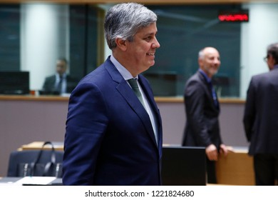 Brussels, Belgium. 5th November 2018.President of Eurogroup Mario Centeno attends in Eurogroup finance ministers meeting at the EU headquarters.