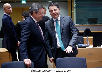 Brussels, Belgium. 5th November 2018.President of the European Central Bank, Mario Draghi attends in an Eurogroup finance ministers meeting at the EU headquarters.
