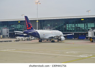 BRUSSELS, BELGIUM -6 FEB 2019- View of an airplane from Belgian flag carrier Brussels Airlines (SN) at the Brussels National Airport Zaventem or Brussel-Nationaal (BRU), the busiest airport in Belgium