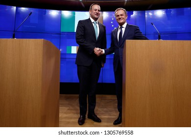 Brussels, Belgium. 6th Feb. 2019.Donald Tusk, the President of the European Council  and the Irish Prime Minister Leo Varadkar give a press conference at EU Council headquarters.