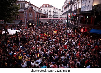 Brussels, Belgium. 6th July 2018. Belgian supporters celebrate after their team's victory during the Russia 2018 World Cup quarter-final football match between Brazil and Belgium.