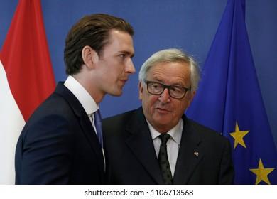 Brussels, Belgium. 6th June, 2018. Jean-Claude JUNCKER, President of the European Commission, welcomes Sebastian KURZ, Austrian Chancellor.