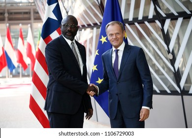 Brussels, Belgium. 6th June, 2018. Donald Tusk, the President of the European Council  welcomes President of Liberia George Weah  at European Council headquarters.