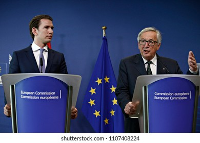 Brussels, Belgium. 6th June, 2018. European Commission President Jean-Claude Juncker gives a joint press conference with Austrian Chancellor Sebastian Kurz.