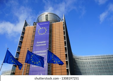 BRUSSELS, BELGIUM -7 FEB 2019- View of the Berlaymont Building, headquarters of the European Commission of the European Union (EU) based in Brussels, Belgium.