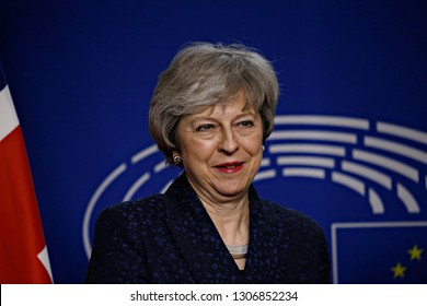 Brussels, Belgium. 7th Feb. 2018. Meeting between Prime Minister of the United Kingdom Theresa May and European Parliament President Antonio Tajani at the EU Parliament.