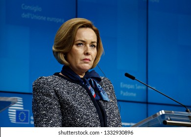 Brussels, Belgium. 7th March 2019. Interior Minister of Romania Carmen Daniela Dan gives a press conference on results of Justice and Home Affairs Council of EU.