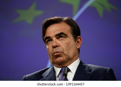 Brussels, Belgium. 7th May 2019. Margaritis Schinas, Chief Spokesperson of the EU Commission during a press briefing at the end of the read-out of College meeting.