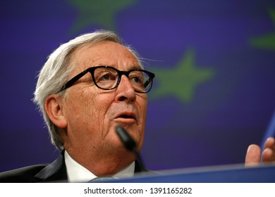 Brussels, Belgium. 7th May 2019.EU Commission President Jean-Claude Juncker talks to journalists during a news conference following a College of Commissioners meeting at the EU Commission headquarters