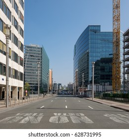 Brussels, Belgium - 8 April 2017: View on Rue de la Loi or Wetstraat in Brussels.
