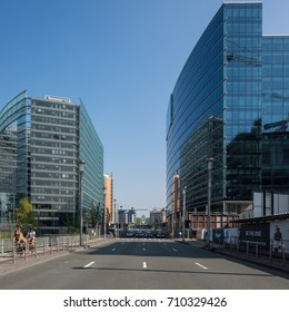 Brussels, Belgium - 8 April 2017: View on Rue de la Loi or Wetstraat in the center of Brussels.