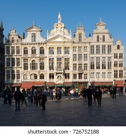 Brussels, Belgium -  8 April 2017: Historic buildings on the Main Square (Grand Place) of Brussels.