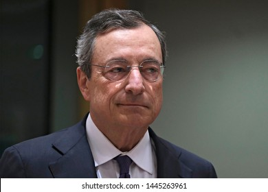 Brussels, Belgium. 8th July 2019. President of the European Central Bank, Mario Draghi  during the Eurogroup Finance Ministers' meeting.