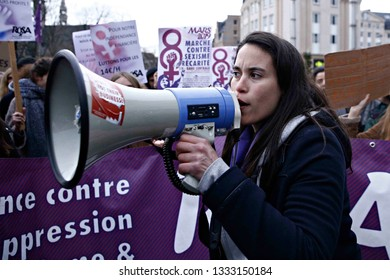 Brussels, Belgium. 8th March 2019. Women take part in a rally during the International Women's Day. Alexandros Michailidis/Alamy Live News
