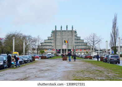 BRUSSELS, BELGIUM -9 FEB 2019- View of the Brussels Expo, a landmark convention building constructed for the 1935 Brussels World Fair located on the Heysel (Heizel) plateau in Brussels, Belgium.