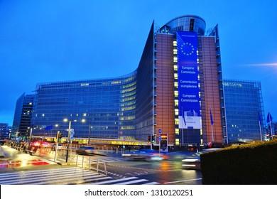 BRUSSELS, BELGIUM -9 FEB 2019- Night view of the Berlaymont Building, headquarters of the European Commission of the European Union (EU) based in Brussels, Belgium.