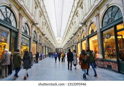 BRUSSELS, BELGIUM -9 FEB 2019- View of the landmark Galeries Royales Saint-Hubert royal galleries (Koninklijke Sint-Hubertusgalerijen), a historical shopping arcade in Brussels, Belgium.