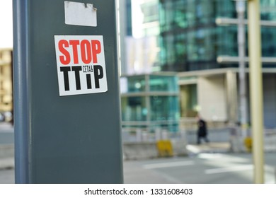 BRUSSELS, BELGIUM -9 FEB 2019- View of a Stop TTIP protest sticker against the Transatlantic Trade and Investment Partnership (TTIP) between the European Union (EU) and the United States (US).