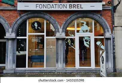 BRUSSELS, BELGIUM -9 FEB 2019- View of the Fondation Jacques Brel museum in downtown Brussels, Belgium, dedicated to famous Belgian singer Jacques Brel.