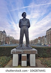 Brussels, Belgium - 9 March 2018: The statue of Field Marshal Montgomery - a famous senior British Army officer, at the  roundabout bearing his name in the central part of Brussels.