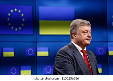 Brussels, Belgium. 9th July 2018.EU Council President Donald Tusk, EU commission President Jean-Claude Juncker and President of Ukraine Petro Poroshenko during a news conference