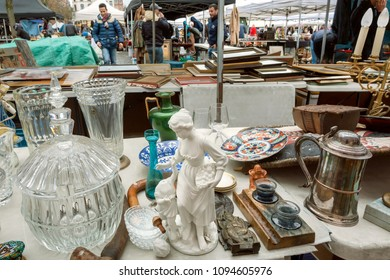 BRUSSELS, BELGIUM - APR 3: Huge lea market and many old art, bargains and antique sculptures in mess of vintage decor and retro details on April 3 2018. More than 1,200,000 people lives in Brussels