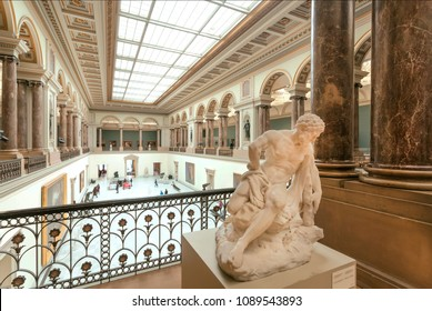 BRUSSELS, BELGIUM - APR 3: Old sculpture in hall of Royal Museums of Fine Arts, established in 1803, on April 3 2018. The Museum contains 20,000 drawings of Bruegel, Rubens and many Flemish painters