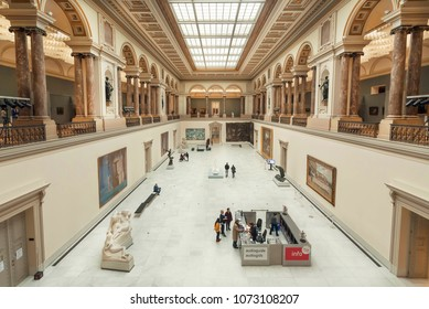 BRUSSELS, BELGIUM - APR 3: Visitors buying tickets to Royal Museums of Fine Arts, established in 1803, on April 3 2018. The Museum contains 20,000 drawings of Bruegel, Rubens and many Flemish painters