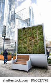 Brussels, Belgium - April 10, 2018: CityTree pollution removal living wall moss filter device installed at the European Parliament in Brussels.