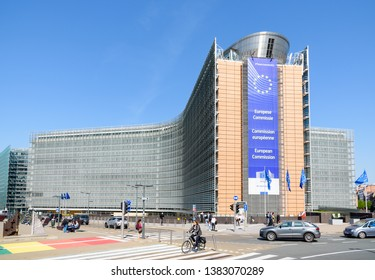 Brussels, Belgium - April 18, 2019: The Berlaymont building in the European Quarter houses the headquarters of the European Commission, the executive of the European Union (EU), since 1967.