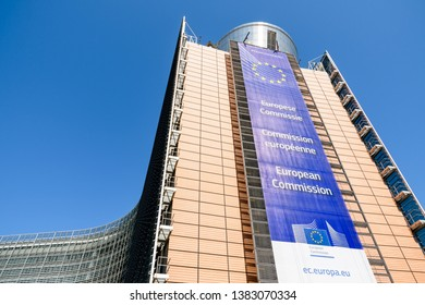 Brussels, Belgium - April 19, 2019: The Berlaymont building in the European Quarter houses the headquarters of the European Commission, the executive of the European Union (EU), since 1967.