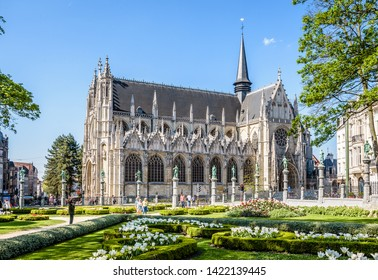 Brussels, Belgium - April 19, 2019: The Church of Our Blessed Lady of the Sablon is a Roman Catholic church from the 15th century located in the Sablon/Zavel district in the historic center.