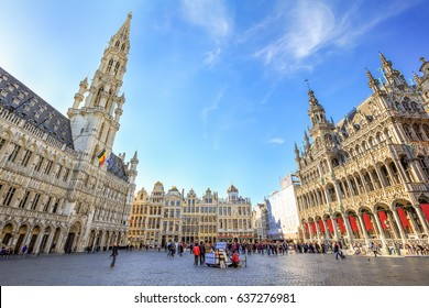 BRUSSELS, BELGIUM - APRIL 20, 2016: Brussels City Hall and 