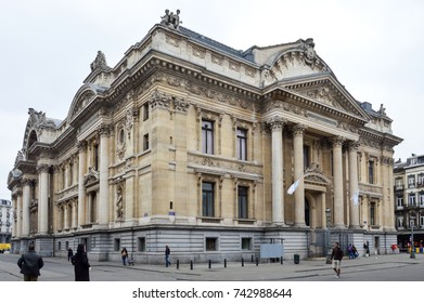 Brussels, Belgium - April 2015: Classic old building houses the Brussels Stock Exchange built in the Neo-Renaissance and Second Empire architectural styles located near the Grand Place in Brussels