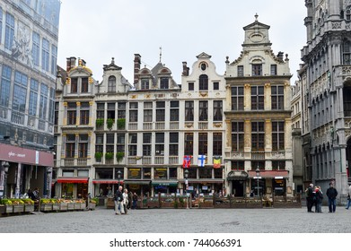 Brussels, Belgium - April 2015: Grand Place, most memorable landmark of Belgium located at central square of Brussels City surrounded by opulent classic buildings and edifices