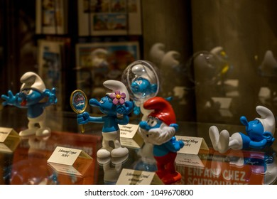 Brussels, Belgium - April 2017: A bust of cartoon character Smurfs in Brussels, Belgium, Europe