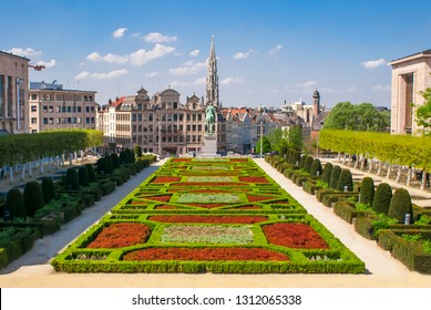 Brussels, Belgium, April 2018. Mont des Arts Park and Town Hall tower, in the back.