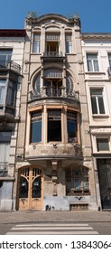 Brussels, Belgium. April 2019. Facade of town house at 92 Rue Africaine, Brussels, built in Art Nouveau style by architect Benjamin De Lestré in the early twentieth century.