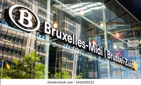 Brussels, Belgium - April 21, 2019: Due to bilingualism, Brussels-South railway station, run by the SNCB national company, has two official names : Bruxelles-Midi in french and Brussel-Zuid in dutch.
