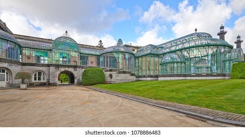 BRUSSELS, BELGIUM, APRIL 26, 2018: The Royal Greenhouses of Laeken. A vast complex of monumental heated greenhouses in the park of the Royal Palace of Laeken in the north of Brussels.