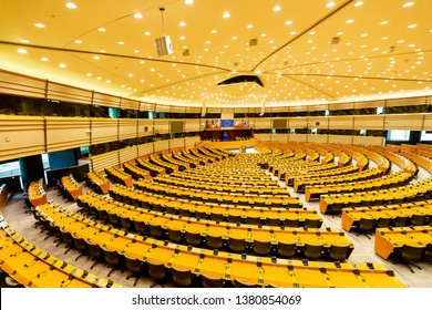 BRUSSELS, BELGIUM - April 26, 2019: Plenary hall of European parliament in Brussels. European Union