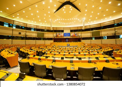 BRUSSELS, BELGIUM - April 26, 2019: Plenary hall of European parliament in Brussels