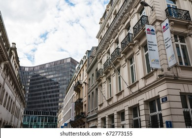Brussels, Belgium - April, 28, 2017: Building on the street of Brussels in 2017
