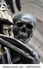 Brussels, Belgium April 29 2019: The Skull in Cathedral of St. Michael and St. Gudula
