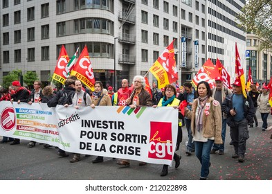 BRUSSELS, BELGIUM - APRIL 4, 2014: European Trade Union Confederation members protest against European Union's austerity policy and social dumping. 50000 workers marched to the European Institutions.