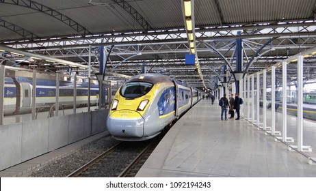 Brussels / Belgium - April 4 2018: The international High Speed passengers Train E320 Eurostar on the railway station Brussels South.